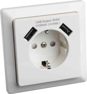 Toppen Gelia - VÄGGUTTAG 1-V INF VIT JORD USB 2 USB ATIA - Vägguttag RK-37